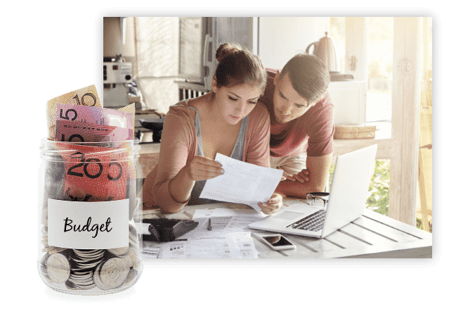 Couple talking about their budget - Conveyancing QLD